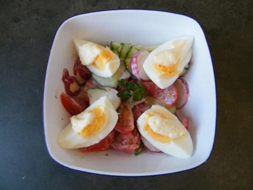 Cucumber radish salad with egg